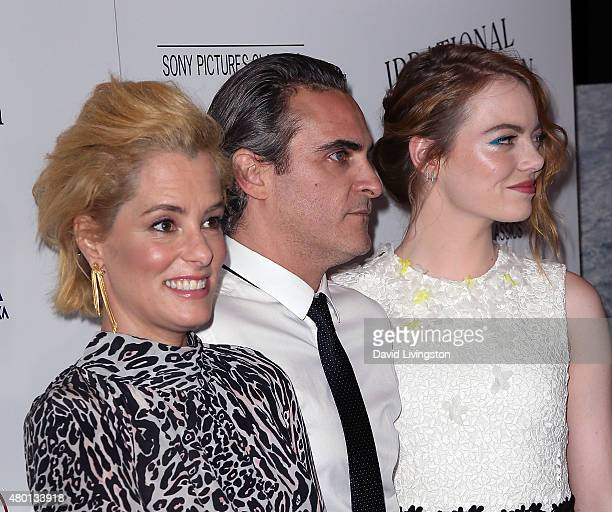 """Actors Parker Posey, Joaquin Phoenix and Emma Stone attend the premiere of Sony Pictures Classics' """"Irrational Man"""" at the WGA Theatre on July 9,..."""