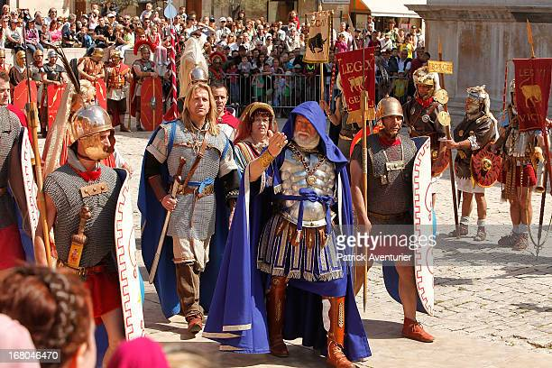 Actors participate in the historic recreation of the Battle of Alesia where Julius Ceasar with Mark Antony and Roman battalions fought against Gaul...