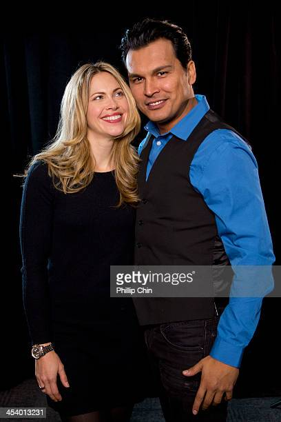Actors Pascale Hutton and Adam Beach from Artic Air attend the Canadian Broadcast Corporation Winter 2014 Season Preview Media Day at CBC Vancouver...