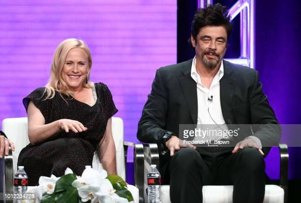 Actors Patricia Arquette and Benicio Del Toro from Escape at Dannemora speak onstage at the Showtime Network portion of the Summer 2018 TCA Press...