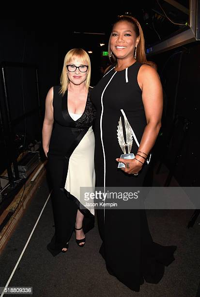 Actors Patricia Arquette and Queen Latifah attend the 27th Annual GLAAD Media Awards at the Beverly Hilton Hotel on April 2 2016 in Beverly Hills...