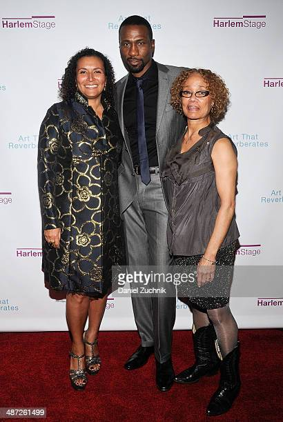 Actors Patricia Blanchet Leon Robinson with Patricia Cruz attend the Harlem Stage 2014 Spring Gala at Harlem Stage Gatehouse on April 28 2014 in New...