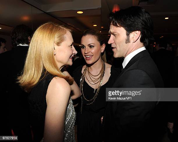 Actors Patricia Clarkson, Anna Paquin, and Stephen Moyer attend the 2010 Vanity Fair Oscar Party hosted by Graydon Carter at the Sunset Tower Hotel...