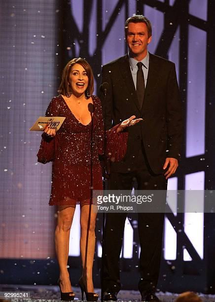 Actors Patricia Heaton and Neil Flynn on stage during the 43rd Annual CMA Awards at the Sommet Center on November 11 2009 in Nashville Tennessee