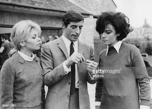 Actors Patricia Viterbo Jean Claude Bercq and Marilu Tolo on the set of the film 'Judoka Agent Secret' Paris October 11th 1966 Patricia Viterbo would...