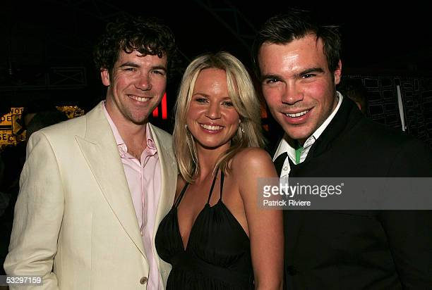 Actors Patrick Brammall Jessica Napier and Brett Stiller attend the launch of the TV series The Alice at Homebush Bay on July 28 2005 in Sydney...