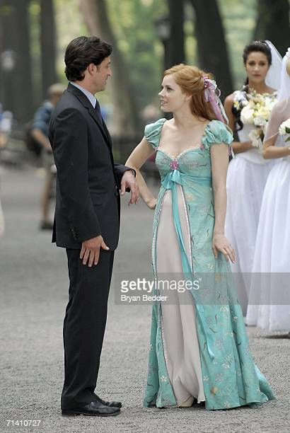 Actors Patrick Dempsey and Amy Adams appear on set during the filming of Walt Disney Pictures Enchanted in Central Park on July 10 2006 in New York...