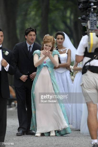 Actors Patrick Dempsey and Amy Adams appears on set during the filming of Walt Disney Pictures Enchanted in Central Park on July 10 2006 in New York...