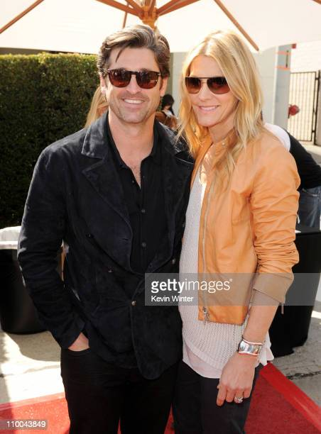 Actors Patrick Dempsey and his wife Jillian Dempsey arrive at John Varvatos' 8th Annual Stuart House Benefit at the John Varvatos Boutique on March...