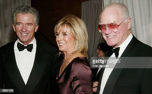 Actors Patrick Duffy Linda Gray and Larry Hagman attend the cocktail party for the CBS at 75 television gala at the Hammerstein Ballroom November 2...