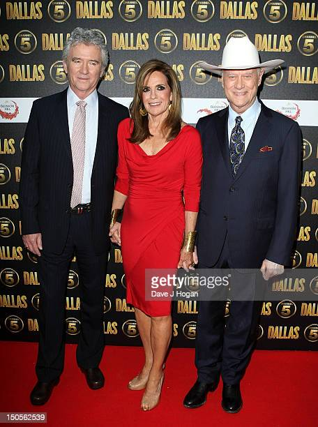 Actors Patrick Duffy Linda Grey and Larry Hagman arrive at the launch party for the new Channel 5 television series of 'Dallas' at Old Billingsgate...