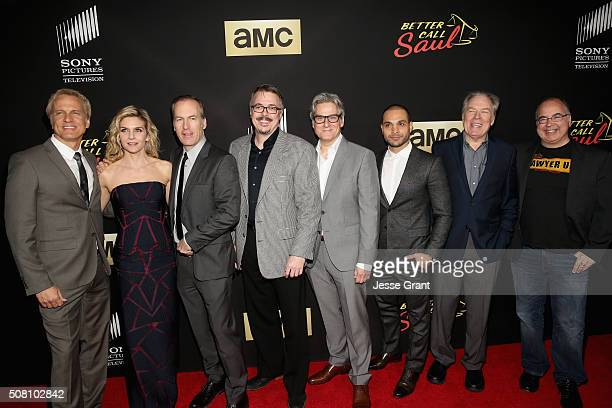 Actors Patrick Fabian Rhea Seehorn Bob Odenkirk executive producers Vince Gilligan Peter Gould actors Michael Mando Michael McKean and executive...