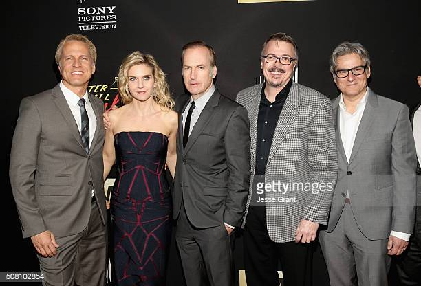 Actors Patrick Fabian Rhea Seehorn Bob Odenkirk executive producers Vince Gilligan and Peter Gould attend 'Better Call Saul' Season 2 Premiere at...