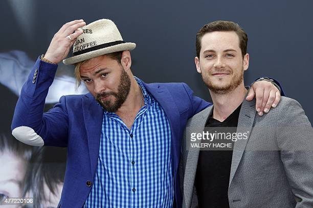 US actors Patrick Flueger and Jesse Lee Soffer pose for a photocall for TV serie 'Chicago PD' during the 55th MonteCarlo Television Festival on June...