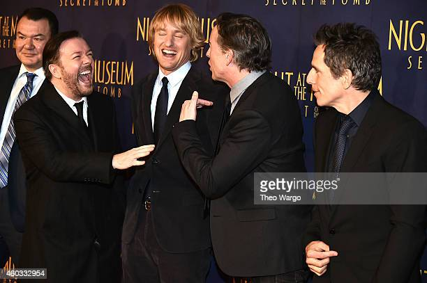 "Actors Patrick Gallagher, Ricky Gervais, Owen Wilson, Steve Coogan and Ben Stiller attend the ""Night At The Museum: Secret Of The Tomb"" New York..."