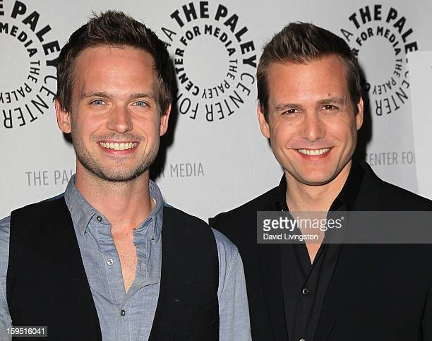 Actors Patrick J Adams and Gabriel Macht attend The Paley Center for Media's presentation of An Evening With Suits at The Paley Center for Media on...