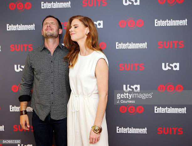 Actors Patrick J Adams and Sarah Rafferty attend Suits Season 6 Screening Panel at the Entertainment Weekly Screening Room on June 23 2016 in New...