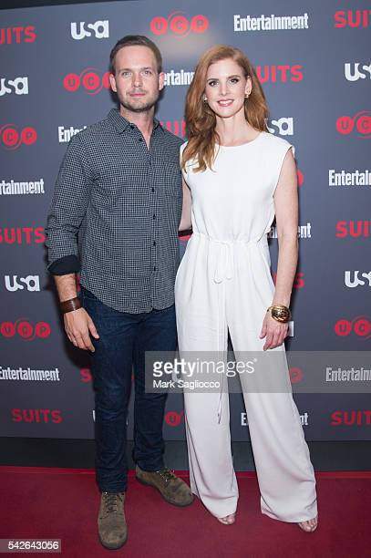 Actors Patrick J Adams and Sarah Rafferty attend the 'Suits' Season 6 Screening Panel at Entertainment Weekly Screening Room on June 23 2016 in New...
