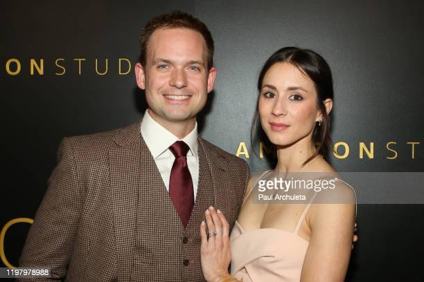 Actors Patrick J Adams and Troian Bellisario attend Amazon Studios Golden Globes after party at The Beverly Hilton Hotel on January 05 2020 in...