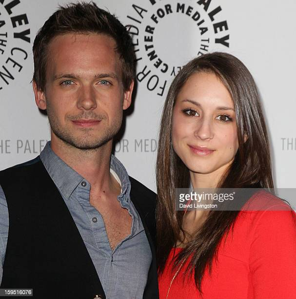 Actors Patrick J Adams and Troian Bellisario attend The Paley Center for Media's presentation of An Evening With Suits at The Paley Center for Media...
