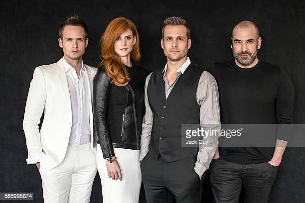 Actors Patrick J Adams Sarah Rafferty Gabriel Macht and Rick Hoffman are photographed for Emmy Magazine on December 16 2013 in Los Angeles California...