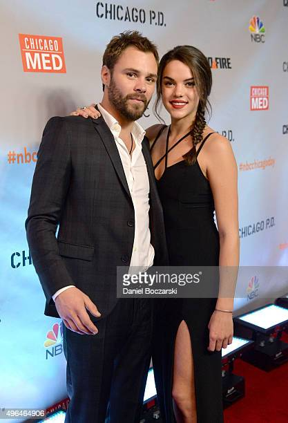 Actors Patrick John Flueger and guest attend a premiere party for NBC's 'Chicago Fire' 'Chicago PD' and 'Chicago Med' at STK Chicago on November 9...