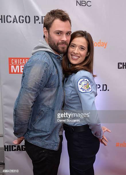 Actors Patrick John Flueger and Marina Squerciati attend a press junket for NBC's 'Chicago Fire' 'Chicago PD' and 'Chicago Med' at Cinespace Chicago...