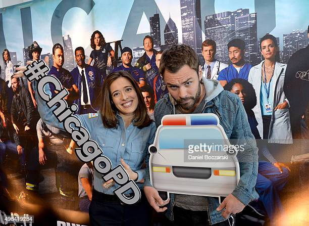 Actors Patrick John Flueger and Marina Squerciati pose with a #ChicagoPD hashtag as they attend a press junket for NBC's 'Chicago Fire' 'Chicago PD'...