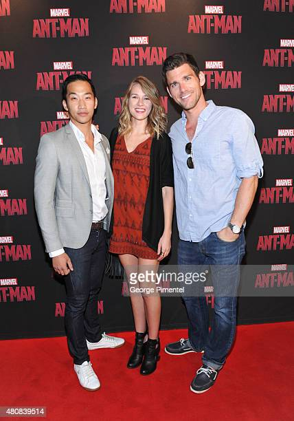 Actors Patrick KwokChoon Tori Anderson and Kevin McGarry attend Marvel's AntMan Toronto Premiere at Cineplex Odeon Varsity and VIP Cinemas on July 15...