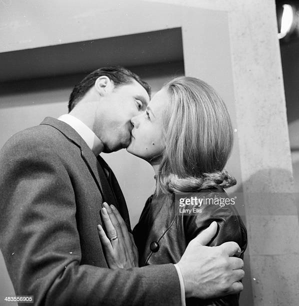 Actors Patrick Macnee and Honor Blackman rehearsing for the television series 'The Avengers', 1964.