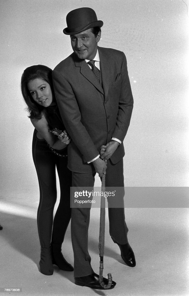 1967. Actors Patrick McNee, who played the character of John Steed, and Diana Rigg, who was Emma Peel, of the Avengers television show. : News Photo