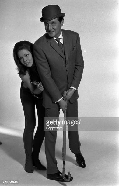 Actors Patrick McNee, who played the character of John Steed, and Diana Rigg, who was Emma Peel, of the Avengers television show