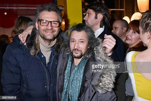 Actors Patrick Mimoun and Sacha Bourdo attend the 'Polish Hope' Short Movie Screening Party at Cinema Grand Action on January 19 2016 in Paris France