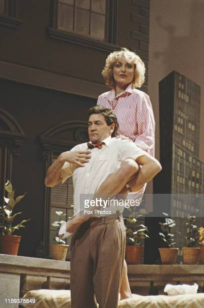 Actors Patrick Mower and Suzanne 'Suzi' Jerome star in the play 'The Seven Year Itch' at the Albery Theatre in London 1985