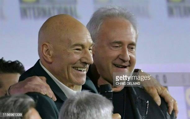 Actors Patrick Stewart and Brent Spiner appear on onstage during the Star Trek: Picard panel in Hall H at the Convention Cener during Comic Con in...