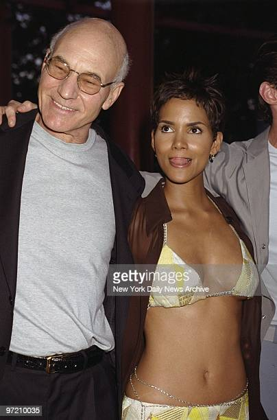 """Actors Patrick Stewart and Halle Berry attend the premiere of the movie """"X-Men"""" at Ellis Island. He plays the Dr. Xavier and she is 'Storm' in the..."""