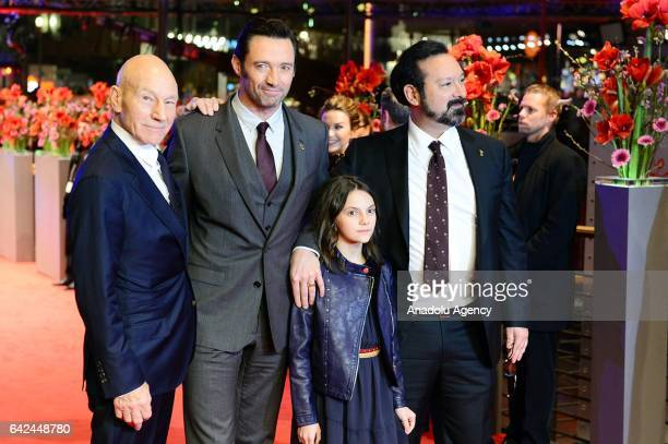 actors Patrick Stewart Hugh Jackman Dafne Keen and director James Mangold attend the red carpet of 'Logan' during the 67th Berlinale International...