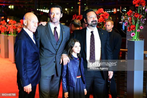 actors Patrick Stewart Hugh Jackman Dafne Keen and direktor James Mangold attend the red carpet of 'Logan' during the 67th Berlinale International...