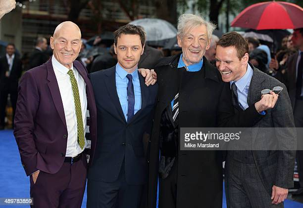 Actors Patrick Stewart James McAvoy Michael Fassbender Ian McKellen and James McAvoy attend the UK Premiere of 'XMen Days of Future Past' at Odeon...