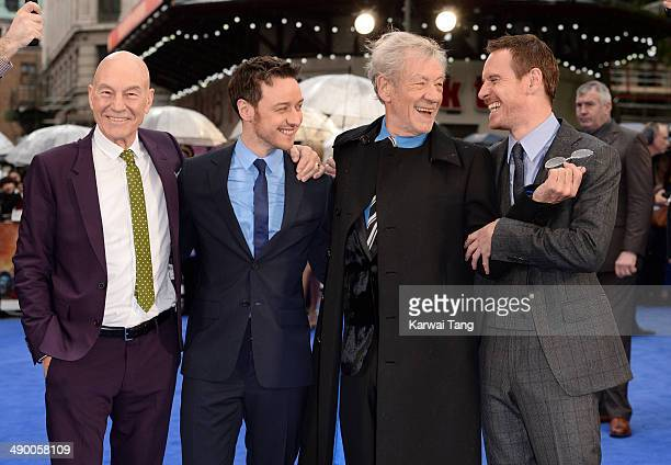 Actors Patrick Stewart James McAvoy Sir Ian McKellen and Michael Fassbender attend the UK Premiere of 'XMen Days of Future Past' held at the Odeon...