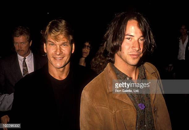 Actors Patrick Swayze and Keanu Reeves attend the premiere of Point Break on July 10 1991 at Avco Center Theater in Westwood California
