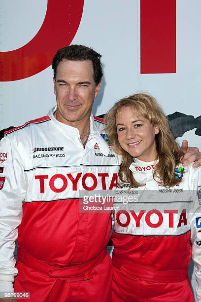 Actors Patrick Warburton and Megyn Price attend the Toyota Pro Celebrity Race press day on April 6 2010 in Long Beach California