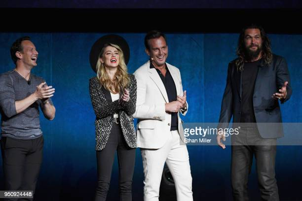 Actors Patrick Wilson Amber Heard Will Arnett and Jason Momoa speak onstage during CinemaCon 2018 Warner Bros Pictures Invites You to 'The Big...