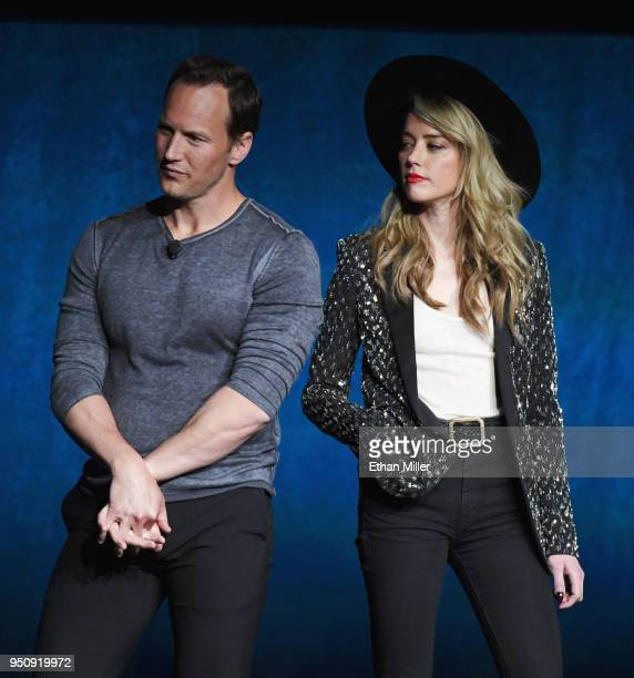 Actors Patrick Wilson and Amber Heard speak onstage during CinemaCon 2018 Warner Bros Pictures Invites You to 'The Big Picture' an Exclusive...