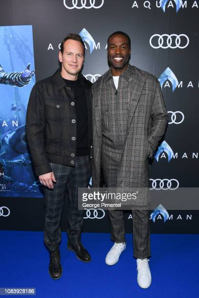 Actors Patrick Wilson and Yahya Abdul Mateen II attend the Aquaman exclusive blue carpet fan screening held at the Scotiabank Theatre on December 17...