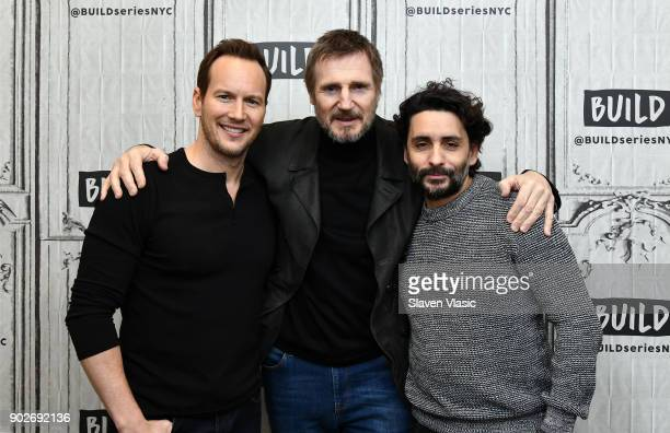 Actors Patrick Wilson Liam Neeson and director Jaume ColletSerra visit Build Series to discuss their new movie 'The Commuter' at Build Studio on...