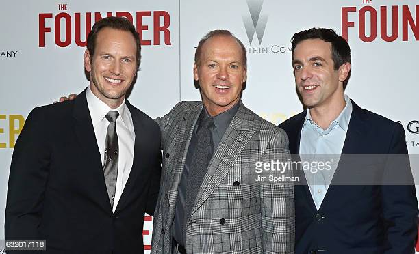 Actors Patrick Wilson Michael Keaton and B J Novak attend the screening of 'The Founder' hosted by The Weinstein Company with Grey Goose at The Roxy...