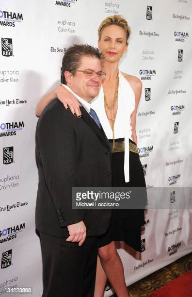 Actors Patton Oswalt and Charlize Theron attend the IFP's 21st Annual Gotham Independent Film Awards at Cipriani Wall Street on November 28, 2011 in...