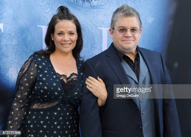 Actors Patton Oswalt and Meredith Salenger arrive at the premiere of HBO's Game Of Thrones Season 7 at Walt Disney Concert Hall on July 12 2017 in...