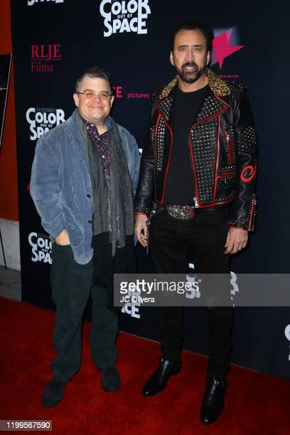 Actors Patton Oswalt and Nicolas Cage attend the special screening of Color Out Of Space at the Vista Theatre on January 14 2020 in Los Angeles...